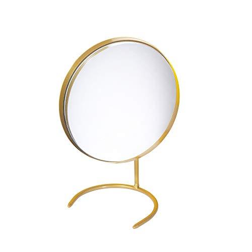 Espejo De Tocador Redondo Dorado, 22x16.5cm, Espejo De Maquillaje De Una Cara Para Dormitorio, Base De Soporte De Herradura De Hierro, Adornos De Espejo Negro Decorativos De Escritorio Creative Niña