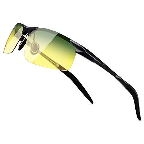 SUNGAIT HD Night Vision Polarized Men Sunglasses Anti Glare for Night Driving(Black Frame/Day&Night) 8177HEKRY