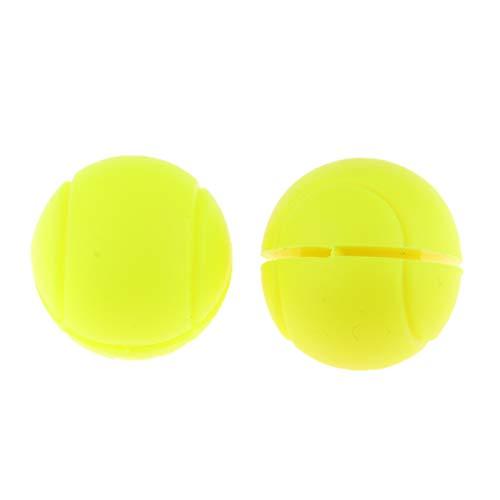 F Fityle 2pcs Antivibrador para Raqueta de Tenis de Silicona Absorbente de Vibración, Diseño Bicolor - Amarillo