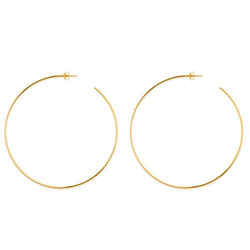 Orecchini a cerchio in oro giallo 14 carati, diametro 105 mm