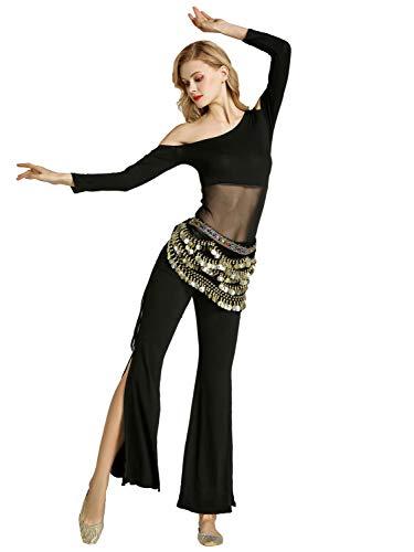 Zengbang Damen Bauchtanz Trainingskleidung Tanzbekleidung Bauchtanz Kostüm Latin Indian Langarm Top Hosenanzug (Schwarz#2(2PCS), Asien M)