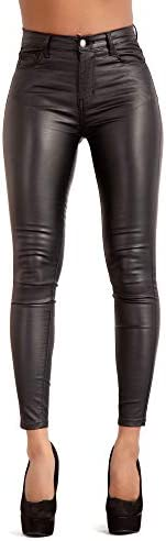 Glook Womens Black Leather Look Trousers High Waist Slim Fit Skinny Butt Lifting Jeans