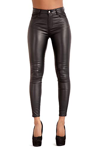 Glook Leggings de cuero PU, cintura alta, negro