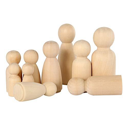 JTWEB Figurenkegel Holz,52 Stück Holzfiguren Puppen DIY Unvollendete Holzfiguren zum Bemalen mit Aufbewahrungsbox,Natürliche Holzfiguren Hochzeit für Geburtstag Dekoration Bemalen Basteln
