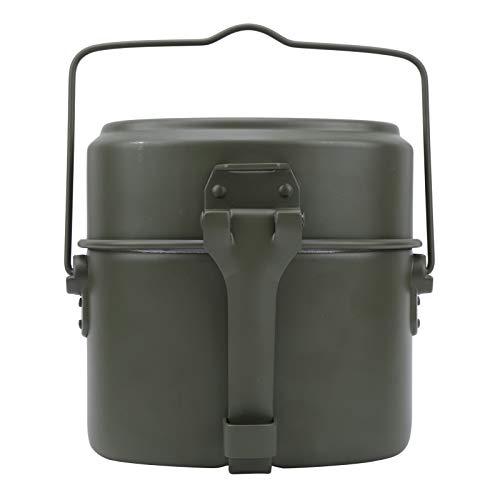 Asixxsix Fiambrera Bento, Fiambrera portátil de Aluminio Verde Militar, 2 Capas de Viaje al Aire Libre para Acampar