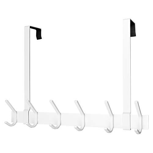ARUNNERS Over The Door Towel Racks for Bathroom Hooks for Clothes Hanging White Hanger