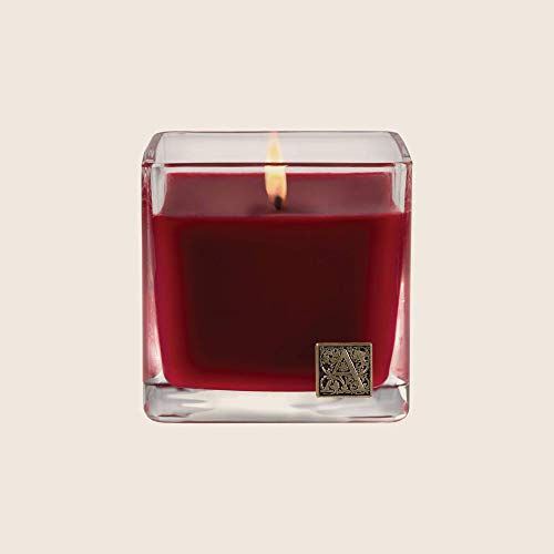 Aromatique The Smell of Christmas Glass Cube 12 oz Scented Jar Candle with Metal Medallion for Home Décor and Gift