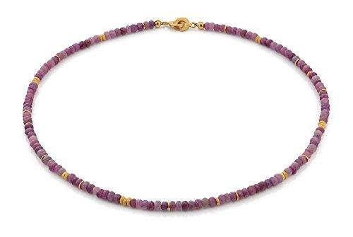 Rubin-Collier hochwertige Goldschmiedearbeit (Sterling Silber 925 vergoldet) seltene Rubin Kette, Damenkette mit Wert Expertise, Halskette, Edelsteinkette
