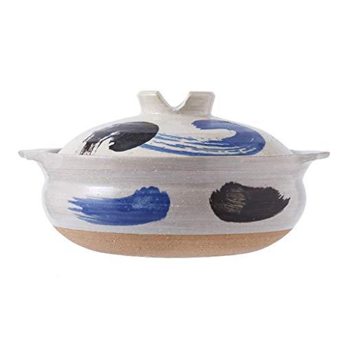 TELLMNZ Cacerola de cerámica caliente, hecha a mano, olla de arcilla de donabe, olla de tierra impresa, olla de guiso lento para la salud, cazuela cubierta aislada con tapa, olla de sopa a 1,2 l
