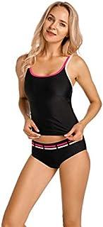 BEESCLOVER Women's Two Pieces Tankini Set Beachwear Light Padded Wirefree Swimsuit Swimwear Black01 34