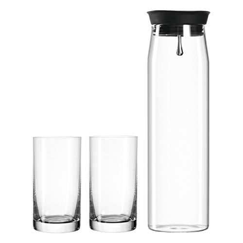 Leonardo Brioso Getränke-Set, Glas-Karaffe mit Trink-Gläsern, Saft-Karaffe mit Deckel, 3er Set, 260 ml und 1100 ml, 028775