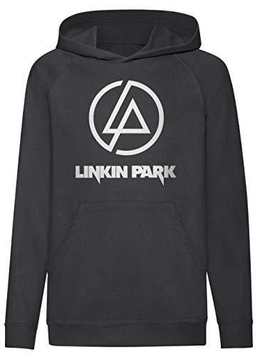 LaMAGLIERIA Kids Hoodie Linkin Park Classic Logo White Print - Kapuzenpullover für Jungen Rock Metal Band, 9-11 Jahre, Schwarz