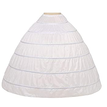 Noriviiq Womens 6 Hoop Skirt Floor Length Crinoline Petticoat For Quinceanera Dress 9306-WH White