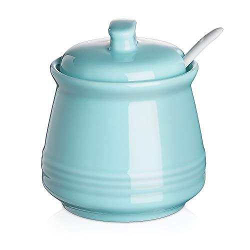DOWAN Porcelain Sugar Bowl, 12 Ounce Ceramic Sugar Bowl with Lid, Sugar Bowl with Spoon and Lid, Sugar Canister, Coffee Bar Accessories, Suit for Coffee Bar, Restaurant, Turquoise, 12 Ounces