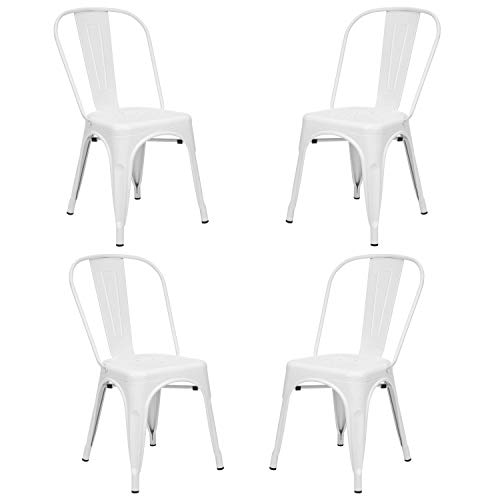 Vaukura Silla Oliix (Pack 4) - Silla Industrial Metálica Mate (Blanco)