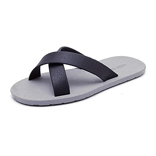 Ririhong Zapatillas de Goma de Moda para Hombres y Mujeres, Sandalias para Parejas, Playa en casa, Chanclas Antideslizantes, baño-Black_2_40