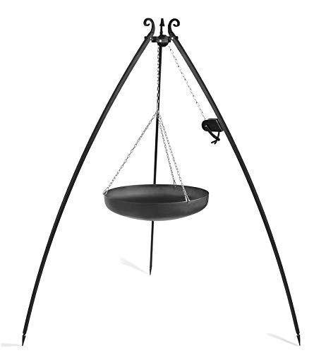 KORONO 5900105402066 Dreibein mit Kurbel 200 cm mit Wok/Pfanne, Rohstal, 110 x 70 x 30 cm