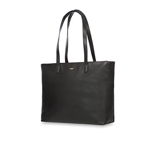 Knomo 120-204-BLK'Maddox' Leather Zip Tote Bag for 15-Inch Laptop - Black