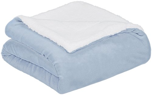 AmazonBasics Soft Micromink Sherpa Throw Blanket - King, Smoke Blue