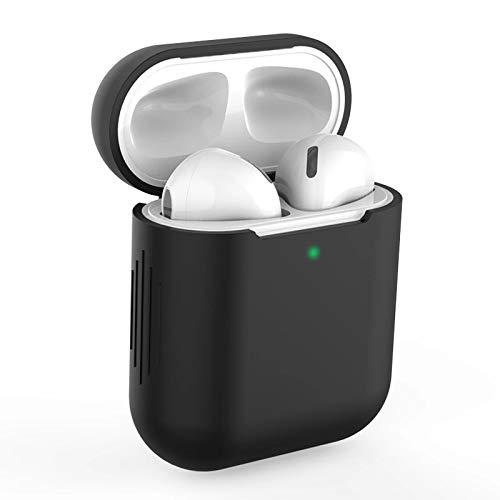 Funda AirPods Silicona Compatible con AirPods 2 & 1, KOKOKA Fundas Protectora de Silicona para AirPods LED Frontal Visible, Funciona con Carga inalámbrica, Negro