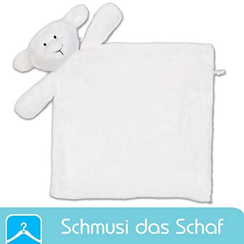Schnuffeltuch Schmusi das Schaf - Schmusetuch Ideal als Babys erstes Kuscheltier - Schnuffeltuch für Junge und Mädchen - Tuch zum kuscheln und einschlafen für's Neugeborene Baby - Schlafschaf