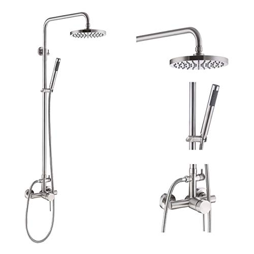 KES Shower System Pressure Balancing Valve Exposed Shower Set Rainfall Shower Head Adjustable Slide Bar 2-Function Shower Fixtures SUS304 Stainless Steel Brushed Nickel, XB6050D-BS