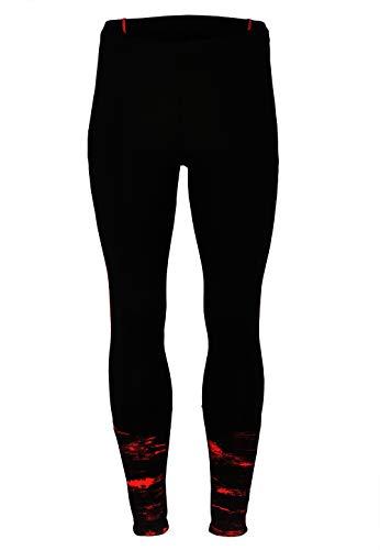 TAO Sportswear Lange atmungsaktive Laufhose für Herren Long Tights Black/Flame red Print 48