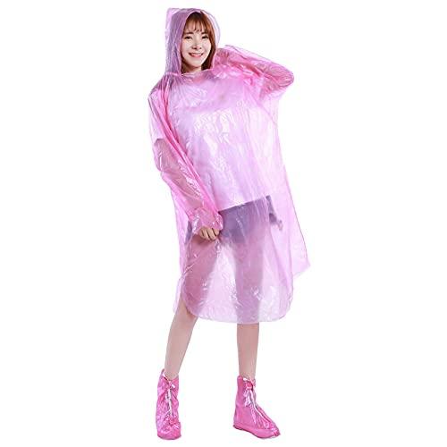 Capa de chuva, Funien Capa de chuva descartável para adultos Homens Mulheres Ao Ar Livre Poncho de emergência leve transparente à prova d'água