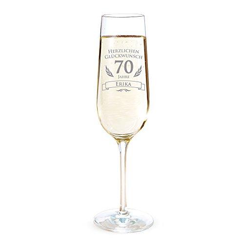 AMAVEL Sektglas mit Gravur zum 70. Geburtstag – Personalisiert mit [Namen] – Sektflöte als Geburtstagsgeschenk – Geschenkidee für Frauen – Glas für Sekt, Champagner und Prosecco – Sektkelch