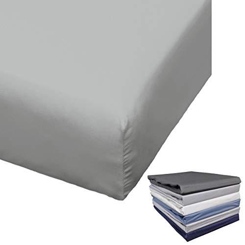 Bierbaum Spannbettlaken Mako Satin 90-100x200 / 180-200x200 cm Weiß Anthrazit Indigo Silber Grau Blau, Farbe:Hellgrau, Größe:100x200cm Spannbettlaken