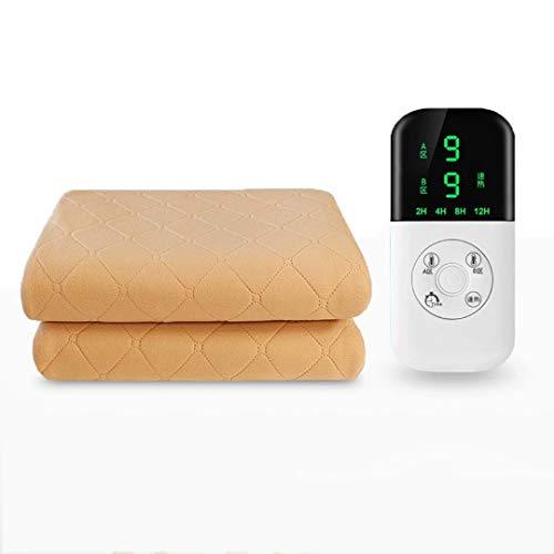 Manta eléctrica para el hogar Soft Comfort Thicken Felpa Almohadilla térmica Ajuste de temperatura de sincronización Protección contra sobrecalentamiento y función de apagado automático Beige 120 * 15