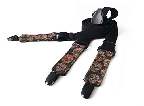 Hergestellt in Deutschland   MAY-TIE Hosenträger   Schwarz mit Kork   Style: Black Scull   2.5cm Breite   Y-Form   stufenlos verstellbar   Geschenk für Ihn, Mann, Hochzeit, Geburtstag