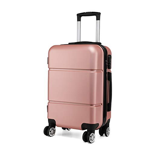Kono Suitcase 20'' Travel Carry On Hand Cabin Luggage Hard Shell Travel Bag Lightweight, Rose Gold