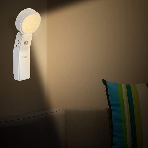 Luz Nocturna Infantil con Luz Sensor, LED Luz Nocturna Multifuncional, se Puede Utilizar Como Linterna y Lámpara de Escritorio, Luz Quitamiedos Recargable con Luz Calida, Puede Girar 360 °, co