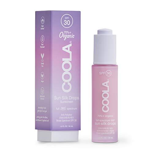 COOLA Organic Sunscreen Sun Silk Drops, Full Spectrum Skin Care for Digital UV Protection, Broad Spectrum SPF 30, 1 Fl Oz
