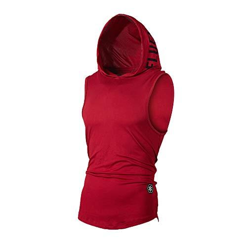 UJUNAOR Tank Top Herren Slim Fit Basic T-Shirt Tankshirt Mit Kapuze Ärmellos Muskelshirt Fitness Unterhemden(Rot,EU M/CN L)