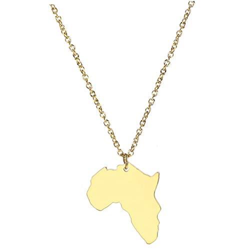 Lankater Joyería del Mapa De África del Collar De Color Oro Colgante Unisex De Acero Inoxidable