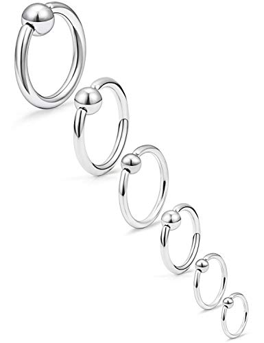 Lcolyoli 316L Surgical Steel Captive Bead Ring Spring Action BCR Monster Screwball Rings PA Nipple Tragus Cartilage Septum Piercing Jewelry 20G 16G 14G 12G 8G 6G Silver-Tone