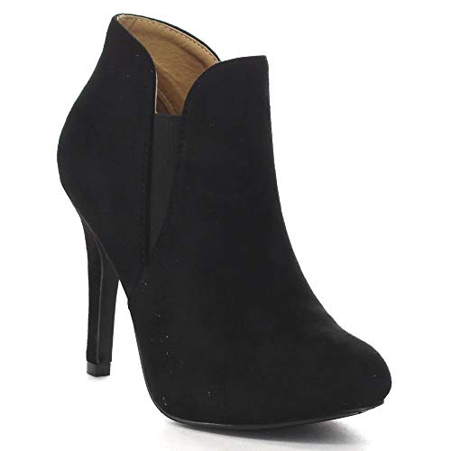 Bella Marie Kendall-10 Women's Soft Round Toe Elastic Cut Out Stiletto Booties,Black,7