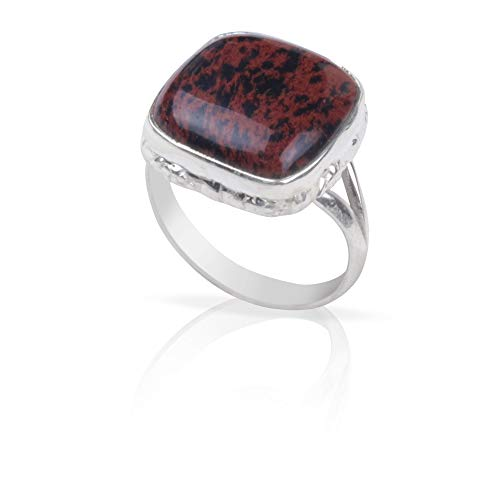 Anillo de plata de ley 925 con piedra de caoba natural de obsidiana   Hermoso anillo unisex   piedra preciosa de cabujón cuadrado   Tamaño del anillo 8 US