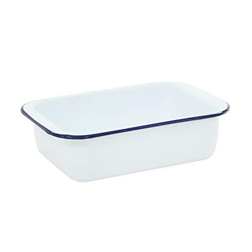 ProCook traditionelle Brat- und Auflaufform - 27 cm - Ofenform - Emaille - weiß - blau