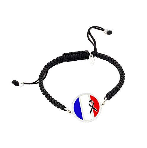 Pulsera con Bandera de Francia Crespón Negro | Pulsera hombre| Pulsera mujer | Regalo original | Bandera de Francia | Yo me quedé en casa