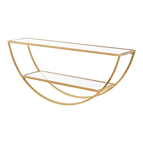 Kate and Laurel Tancill Modern Wall Shelf, 26 x 11, Gold with Clear Glass, Chic Two-Tier Half-Circle Shelf for Wall