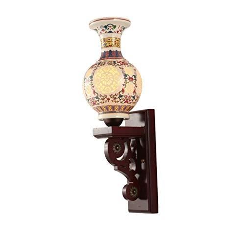 Wand Lampen- Chinesische Keramik-Wand-Lampen-Nacht Wohnzimmer Antike Vase Holz Klassische Wandleuchte (Farbe: Hellgelb Größe: 15x65cm)
