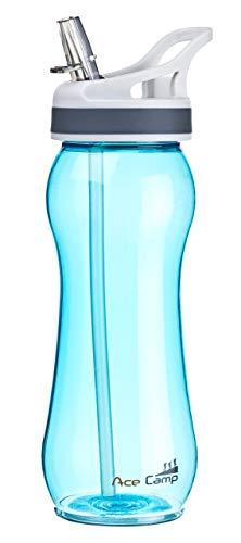 AceCamp TRITAN Trinkflasche | Wasserflasche auslaufsicher BPA-Frei | Sportflasche Trinkhalm I 550 ml I Blau I 15536