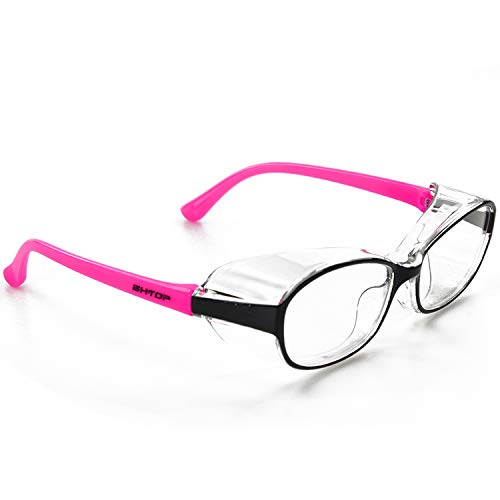 BHTOP Safety Glasses Impact & Ballistic Protective Eye Wear DM001-2 Clear Lens Anti-Fog Goggles In Pink For Women&Girls