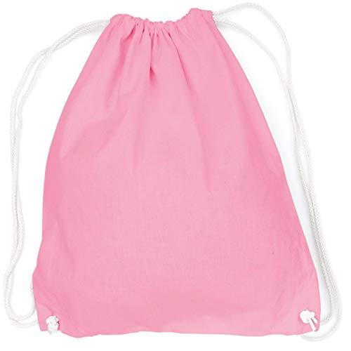 vanVerden - Turnbeutel aus Baumwolle - Rosa blanko/unbedruckt - rosa Stoff-Beutel mit Kordelzug Verschluss