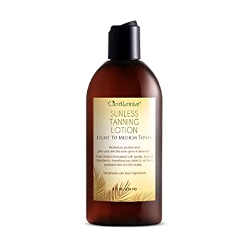 Sunless Tanning Lotion - Light to Medium tones   Indoor Self- Tanner   Body Tanning Lotion   Sun- Kissed Glow  Bronzer Lotion For All Skin Types  Just Nutritive   8 Oz