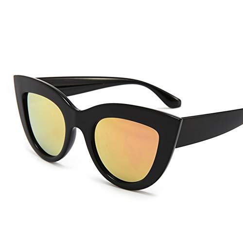 YIERJIU Gafas de Sol Espejo Cat Eye Sunglasses Mujeres Matte Black Gafas de Sol Mujer Oculos UV400 Lunette De Soleil Femme,F