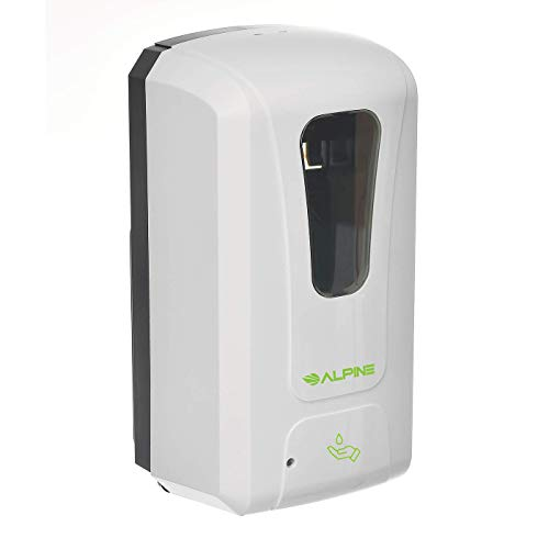 Alpine Industries Wall Mountable, Touchless, Universal Foam Soap Dispenser for Offices, Schools, Warehouses, Food Service Facilities, and Manufacturing Plants, Battery Powered - White